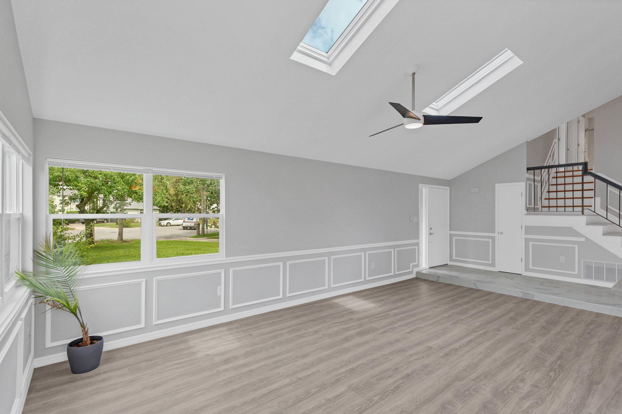 Custom woodwork creates an elegant feel to the space.
