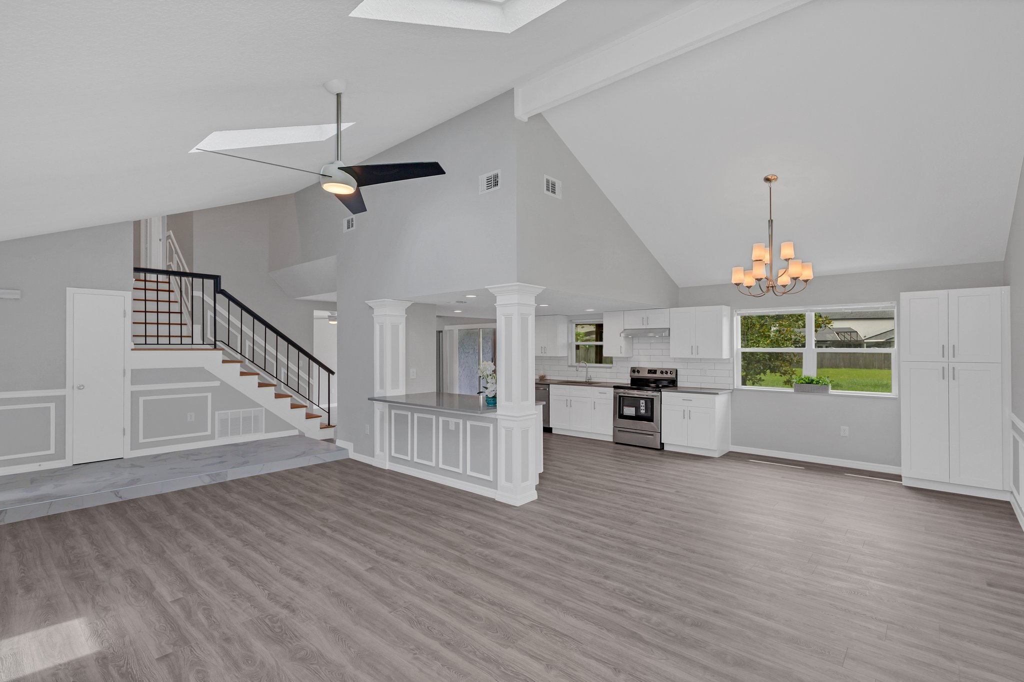Cathedral Ceiling with OPEN KITCHEN, NOOK AND GREAT ROOM.