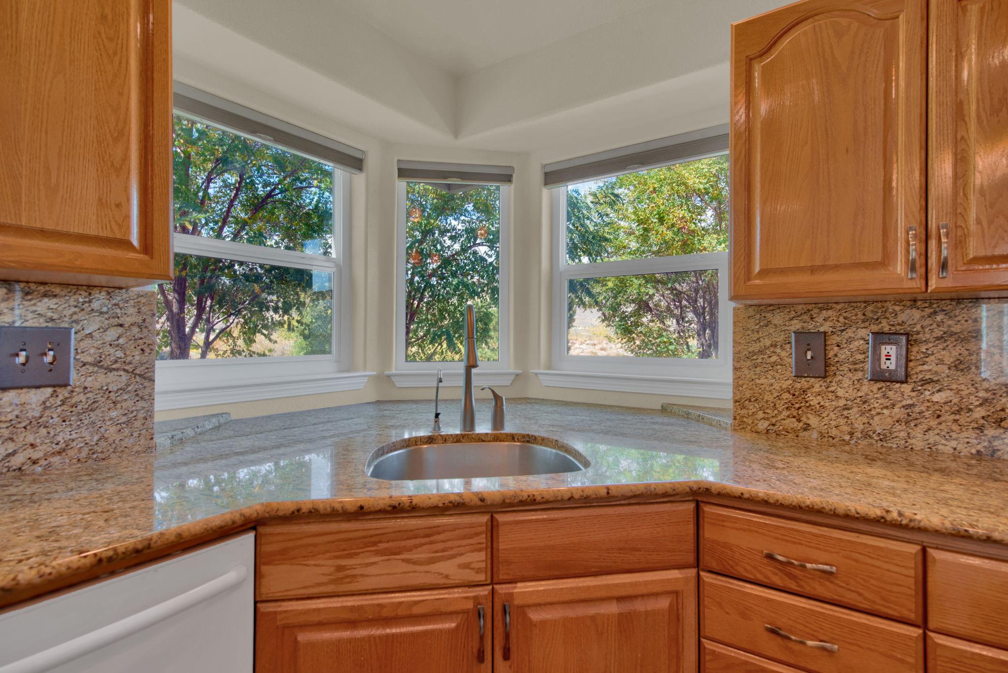Kitchen Sink with Bay Windows