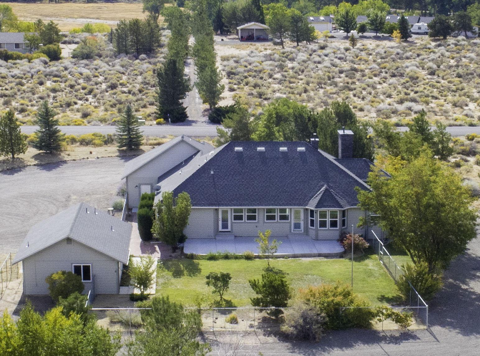 Aerial Closeup of backyard