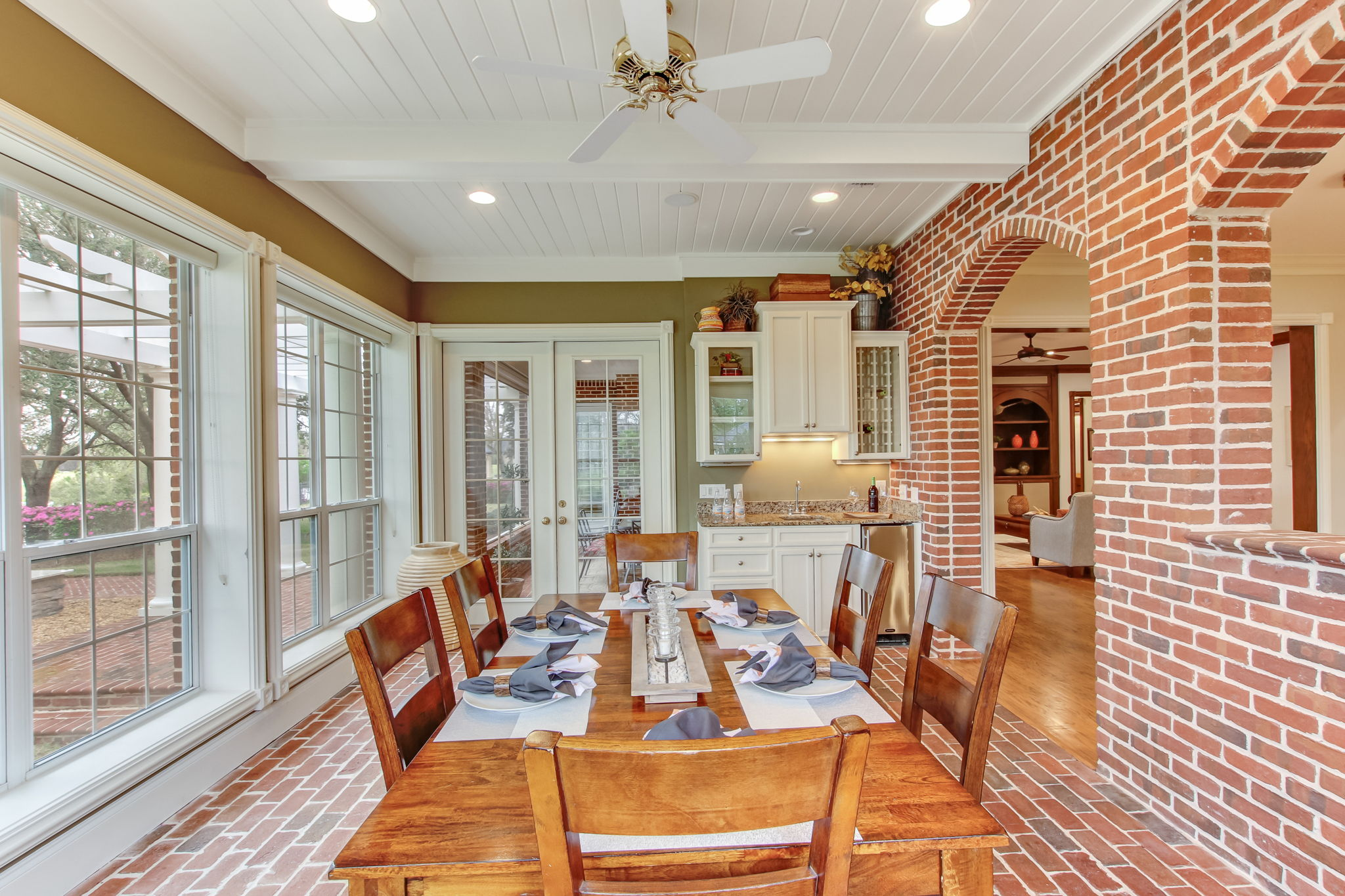 Brick wall & floored Sunroom