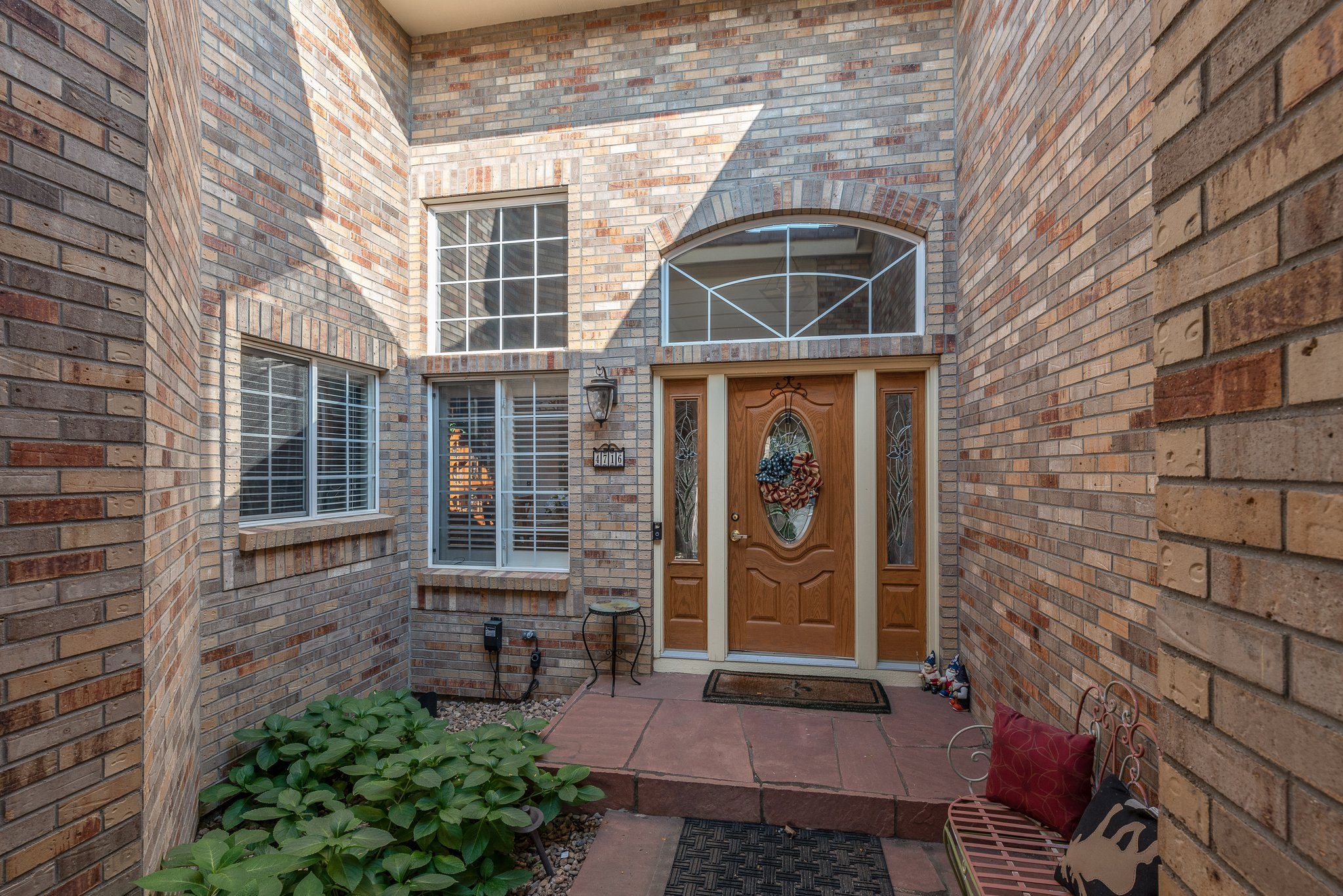 Inviting front courtyard